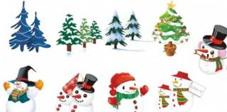 圣誕樹和雪人AI圖片