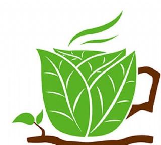樹葉組成的咖啡杯矢量素材圖片